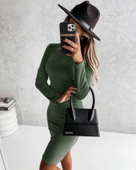 Γυναικείο βελούδινο φόρεμα 5978 πράσινο