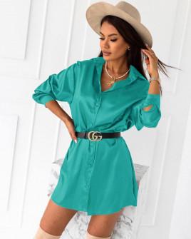 Γυναικείο σατέν πουκάμισο 6025 τυρκουάζ