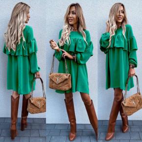 Γυναικείο ασύμμετρο φόρεμα  6028 πράσινο