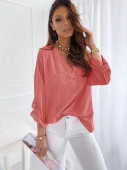 Γυναικείο χαλαρό πουκάμισο 5019 κοραλί