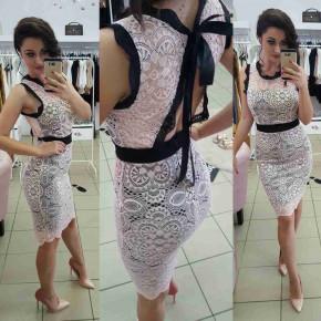 Γυναικείο φόρεμα δαντέλας 2733 ροζ