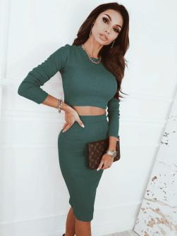 Дамски комплект пола и блуза 5973 тъмно зелен