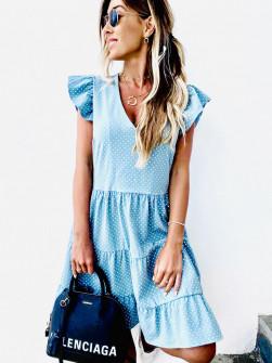 Γυναικείο φόρεμα πουά 2192 γαλάζιο