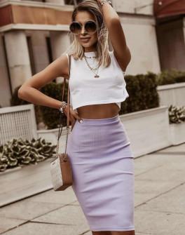 Γυναικεία ψηλόμεση φούστα 5195 λιλά