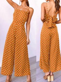 Γυναικεία ολόσωμη φόρμα πουά 2363 πορτοκαλί