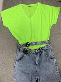 Γυναικεία μπλούζα με βαθύ ντεκολτέ 3869 κίτρινο φωσφοριζέ