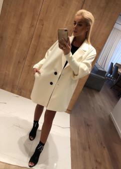 Γυναικείο παλτό με εντυπωσιακό μανίκι 7982 άσπρο