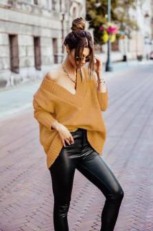 Γυναικείο χαλαρό πουλόβερ 9530 μουσταρδί