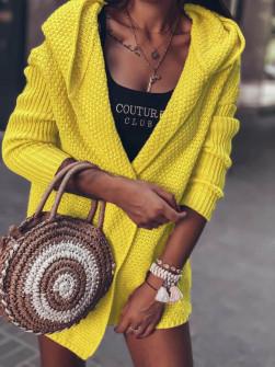 Γυναικεία ζακέτα με κουκούλα 00268 κίτρινη