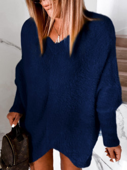 Γυναικείο χνουδωτό μπλουζοφόρεμα 5351 σκούρο μπλε