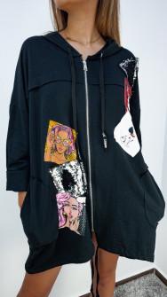 Γυναικεία ζακέτα με φερμουάρ 2640 μαύρη