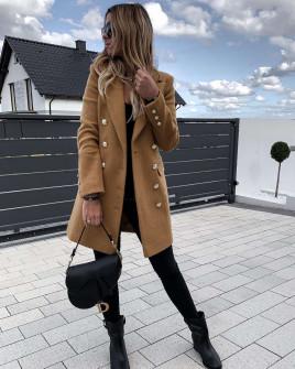 Γυναικείο παλτό με κουμπιά από τις δύο πλευρές και φόδρα 3828 καμηλό