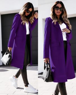 Γυναικείο παλτό μίντι με φόδρα 5361 σκούρο μωβ