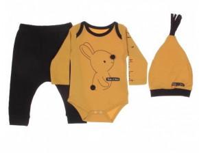 Βρεφικό σετ από 3 τμχ. - κορμάκι, παντελόνι και σκουφάκι 50515291 κίτρινο