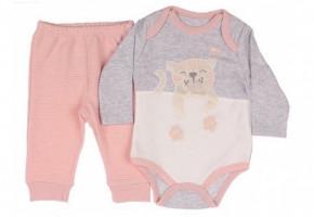 Βρεφικό σετ με γατάκι - κορμάκι και παντελόνι 5052991 ροζ ανοιχτό
