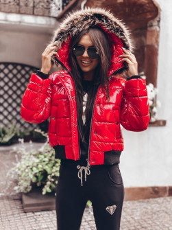 Γυναικείο μπουφάν με γούνα στην κουκούλα 00003 κόκκινο