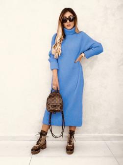 Πλεκτό μακρύ φόρεμα 00809 μπλε