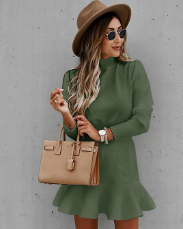Γυναικείο κλος φόρεμα 71211 σκούρο πράσινο