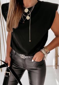 Γυναικείο αμάνικο μπλουζάκι 4370 μαύρο