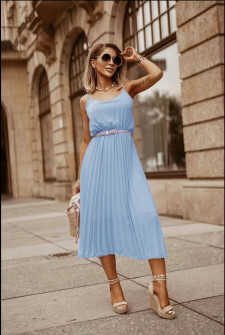 Γυναικείο φόρεμα σολέιγ με ζώνη 5688 γαλάζιο