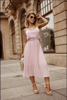 Γυναικείο φόρεμα σολέιγ με ζώνη 5688 ροζ