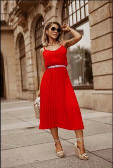 Γυναικείο φόρεμα σολέιγ με ζώνη 5688 κόκκινο
