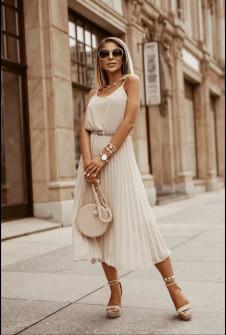 Γυναικείο φόρεμα σολέιγ με ζώνη 5688 μπεζ