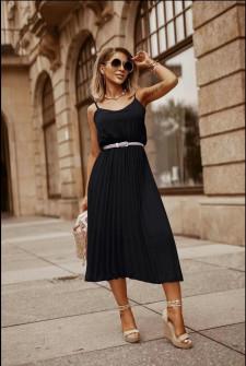 Γυναικείο φόρεμα σολέιγ με ζώνη 5688 μαύρο