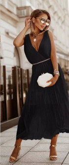 Γυναικείο εντυπωσιακό φόρεμα με ζώνη πράσινο 5693 μαύρο