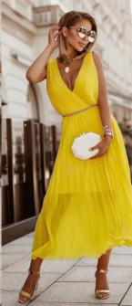 Γυναικείο εντυπωσιακό φόρεμα με ζώνη πράσινο 5693 κίτρινο