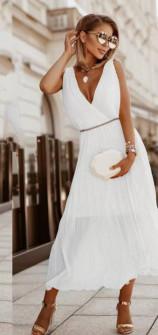 Γυναικείο εντυπωσιακό φόρεμα με ζώνη πράσινο 5693 άσπρο