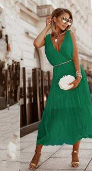 Γυναικείο εντυπωσιακό φόρεμα με ζώνη πράσινο 5693 πράσινο