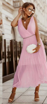Γυναικείο εντυπωσιακό φόρεμα με ζώνη πράσινο 5693 ροζ