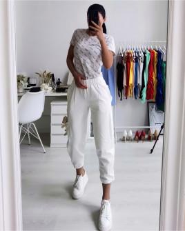 Γυναικείο παντελόνι φόρμας με αξεσουάρ αρκουδάκι 21195 άσπρο