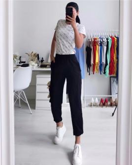 Γυναικείο παντελόνι φόρμας με αξεσουάρ αρκουδάκι 21195 μαύρο