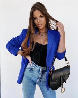 Γυναικείο σακάκι χωρίς φόδρα 551501 μπλε
