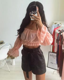 Γυναικεία κοντή μπλούζα 9173 ροζ