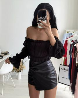 Γυναικεία κοντή μπλούζα 9173 μαύρη