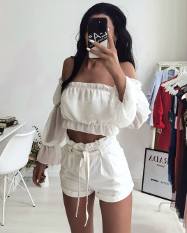 Γυναικεία κοντή μπλούζα 9173 άσπρη