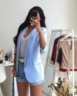 Γυναικείο κομψό σακάκι με φόδρα 3229 γαλάζιο
