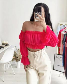 Γυναικεία κοντή μπλούζα 9173 κοραλί