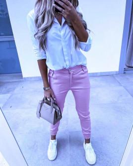 Γυναικείο απλό παντελόνι 5566 μωβ