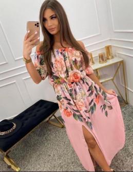 Γυναικείο φόρεμα με σκίσιμο 10688 ροζ