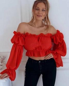 Γυναικεία κοντή μπλούζα 9173 κόκκινη