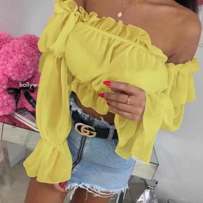 Γυναικεία κοντή μπλούζα 9173 κίτρινη