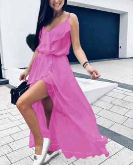 Γυναικείο εντυπωσιακό φόρεμα 51031 ροζ νέον