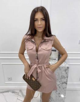 Γυναικείο φόρεμα με φερμουάρ 3897 ροζ