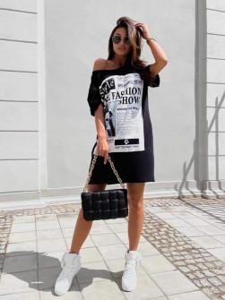 Γυναικείο μπλουζοφόρεμα 14467 μαύρο