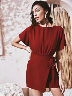 Γυναικείο φόρεμα κρουαζέ 9255 καφέ