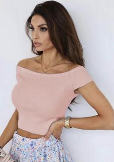 Γυναικεία κοντή μπλούζα 26262 ροζ